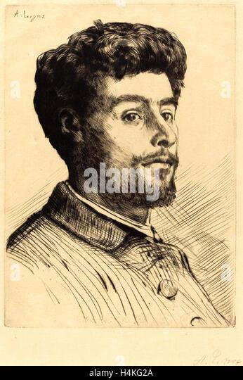 Alphonse Legros, Frederic Regamey, French, 1837-1911, drypoint - Stock-Bilder