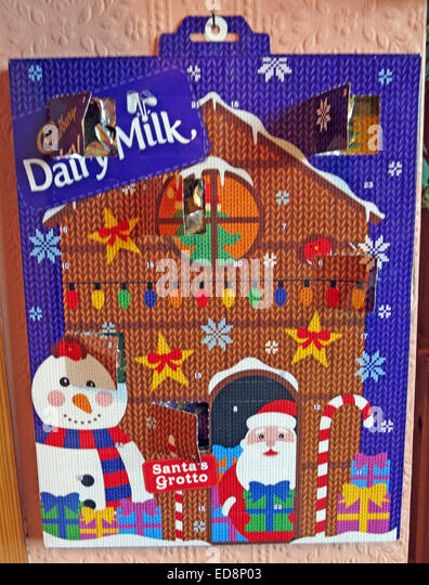 Chocolate Advent Calender in December, Christmas, with one window open - Stock Image