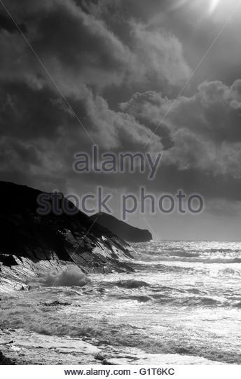 Cliffs at Cambeak near Crackington Haven, Cornwall, England, UK - Stock Image