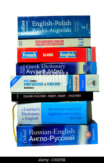 Pile of foreign dictionaries - Stock Image