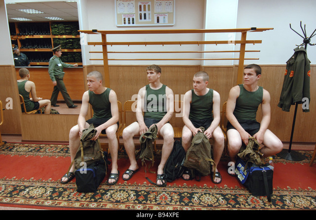 Army conscripts receive their uniforms at the Moscow regional assembly station depot - Stock Image