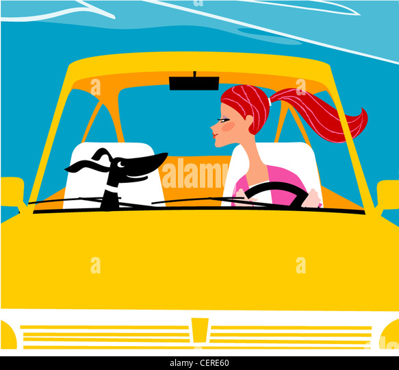 Illustration of female long red hair in a pony tail, driving a yellow car and a black dog in the passenger seat, - Stock-Bilder