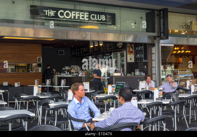 Brisbane Australia Queensland Central Business District CBD The Coffee Club Brisbane Square man cafe restaurant - Stock Image