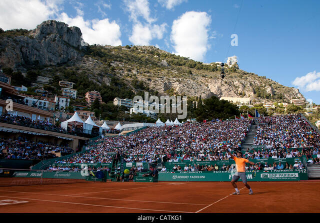 21/04/2012 Monte Carlo, Monaco. Rafael Nadal (ESP) in action during the semi final singles match between Rafael - Stock Image