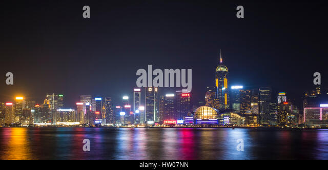 Symphony light and sound city of life at Victoria Harbor in HONG KONG - Stock Image
