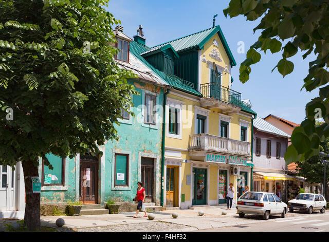 Cetinje, Montenegro. Typical scene in Baja Pivljanina street - Stock Image