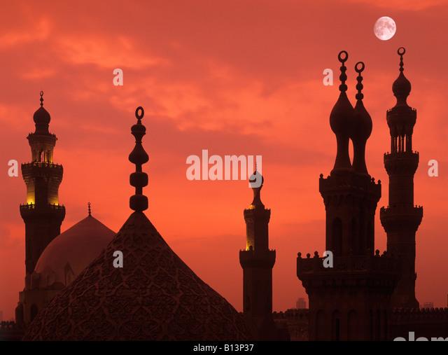 Minarets at sunset,cairo,Egypt. - Stock Image