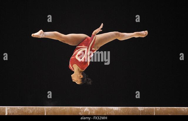 Liverpool, UK. 10th April, 2016. Rebecca Downie. Beam. Womens Artistic Gymnastics. British Gymnastics Championships - Stock Image