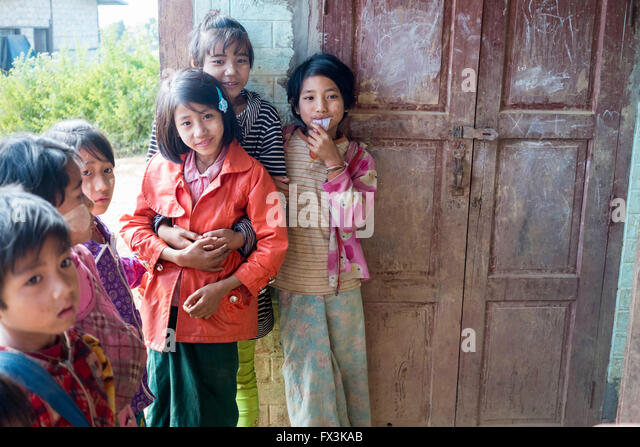 Children at a village school in the Kalaw district of Myanmar - Stock-Bilder