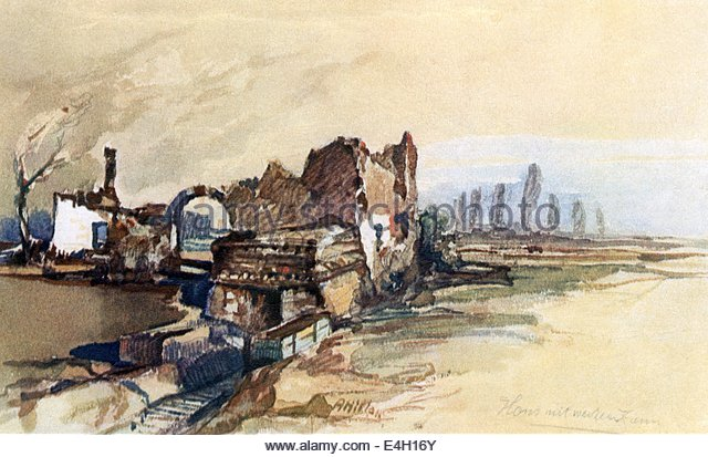 First World War / WWI Western front France ruin house with white fence print after watercolour by Adolf Hitler 1917 - Stock-Bilder
