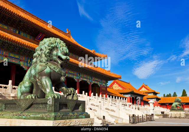 bronze lion outside the Gate of Supreme Harmony, Outer Court, Forbidden City, Beijing, Peoples Republic of China, - Stock Image