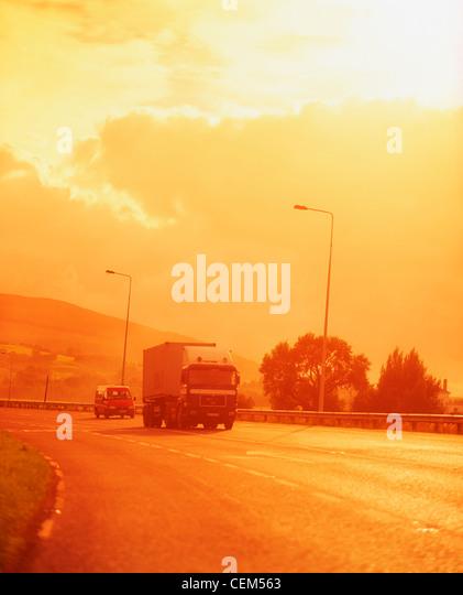 Truck On Main Road, Ireland - Stock Image