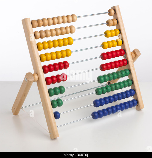 Abacus with beads to left and right - Stock Image