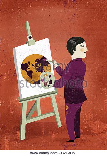 Man painting globe on easel - Stock-Bilder