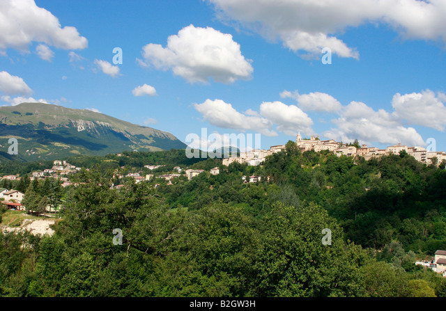 Amandola and the glorious countryside of the Sibillini National Park ,Le Marche,Italy - Stock Image