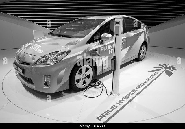 Toyota Prius plugin hybrid car at Paris Motor Show 2010 - Stock Image