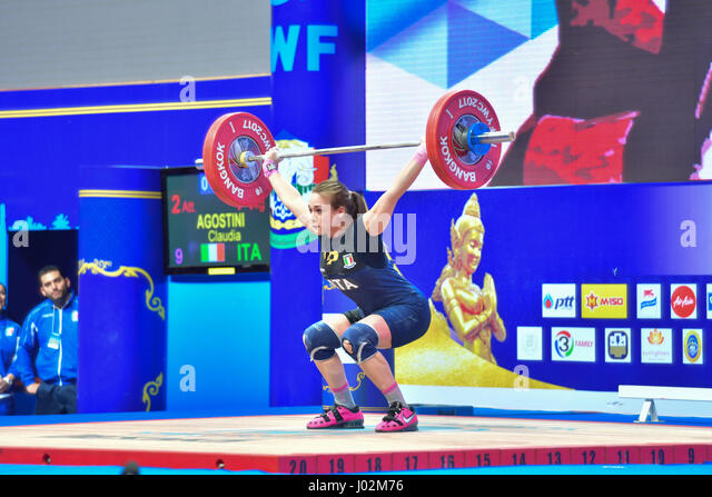 Bangkok, Thailand. 9th April, 2017. Agostini Claudia of Italy in during International Weightlifting Federation (IWF) - Stock Image