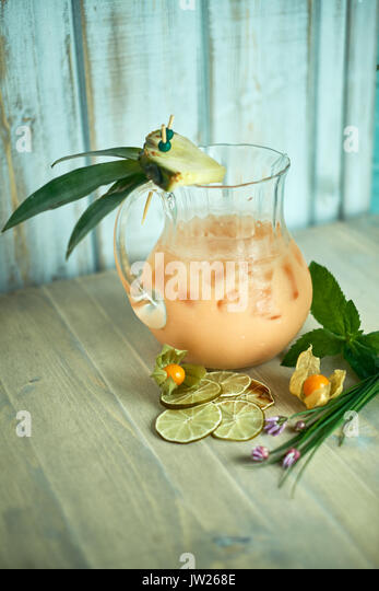 Creamy lemonade in a decanter with ice jpg - Stock Image