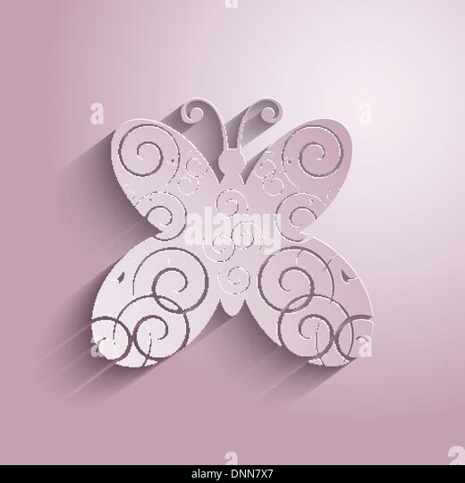 Decorative background with a butterfly design - Stock Image