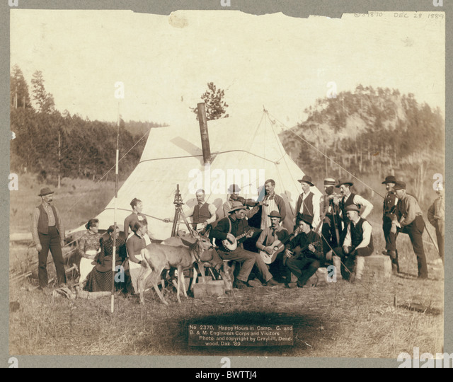 Deadwood Central Railroad Engineer Camp wild west USA America United States North America Dakota surveyor c - Stock Image