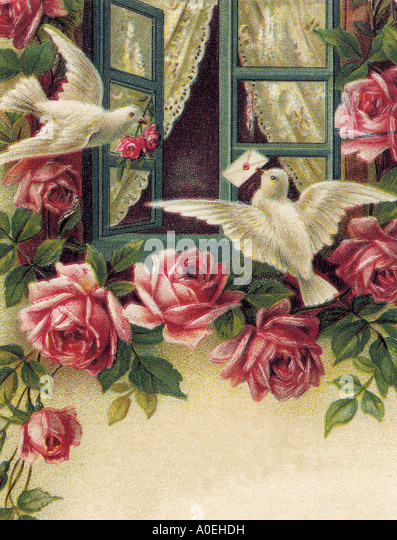 VALENTINE CARDS An Edwardian design - Stock Image