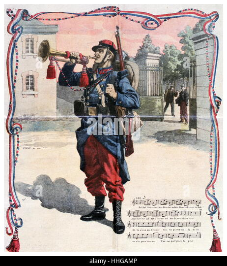 Illustration depicting French army bugler in 1912. from 'Le Petit Journal' - Stock Image