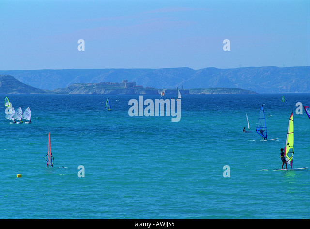 Seascape with windsurfers - Stock Image