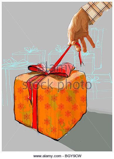 Man opening gift - Stock-Bilder
