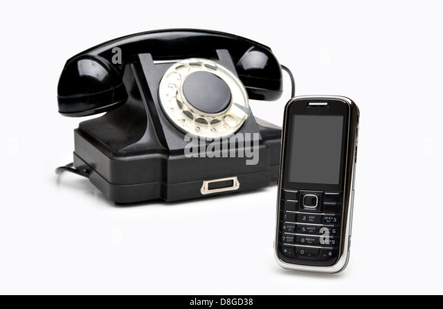 Modern and vintage telephones - Stock Image
