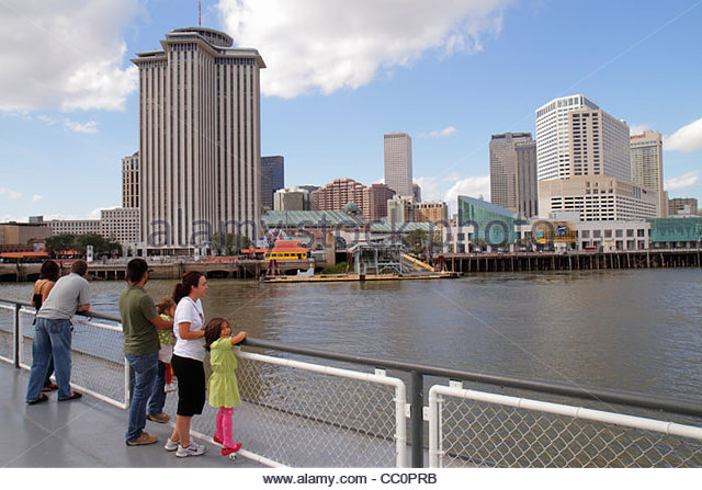 Louisiana New Orleans Mississippi River Canal Street Ferry Algiers CCCD ferryboat public transportation car onboard - Stock Image