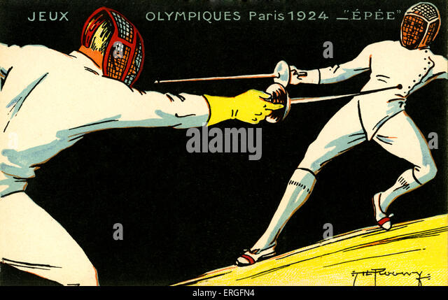 Olympics   1924 Paris France. Fencing  championships. Jeux Olympiques - Stock Image