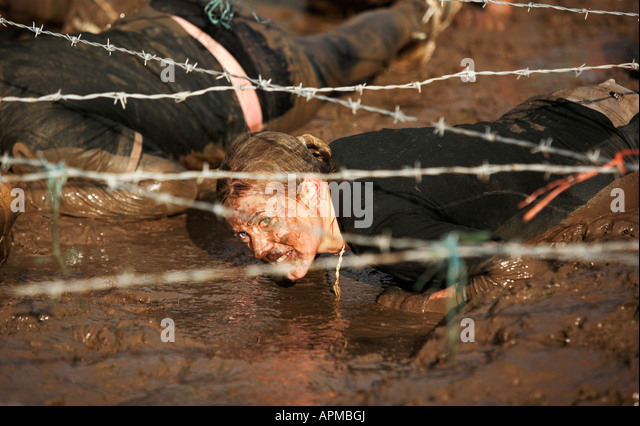 Competitors in the Tough Guy Challenge in Wolverhampton UK - Stock Image