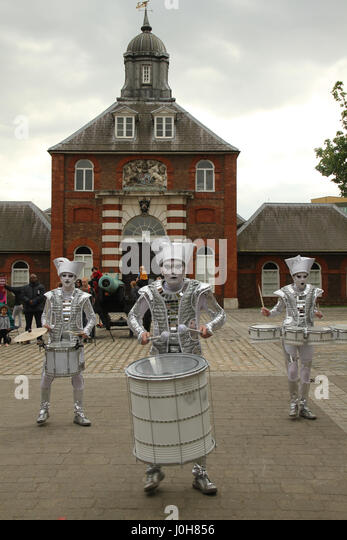 London, United Kingdom - April​ ​13: Entertainers at Woolwich Arsenal during the  2017 Regatta. Around 40 Tall Ships - Stock Image