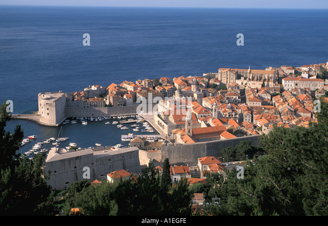 Dubrovnik Croatia Old Town Harbor and Boats - Stock Image