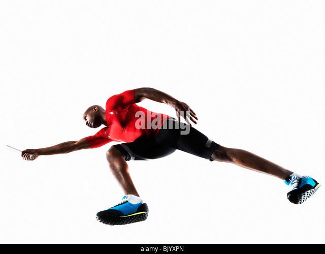 Male Athlete preparing to Run - Stock Image