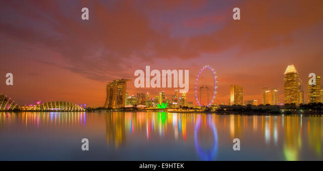 Singapore Skyline at sunset - Stock-Bilder
