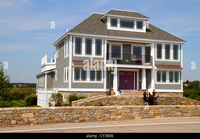 New Hampshire North Hampton North Hampton State Beach Route 1A Atlantic Ocean house home - Stock Image