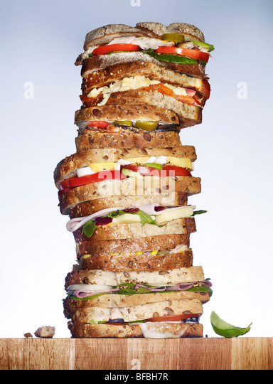 A stack of sandwiches. - Stock Image