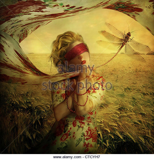 lady With dragonfly,woman in nature with dragonfly on leash - Stock Image