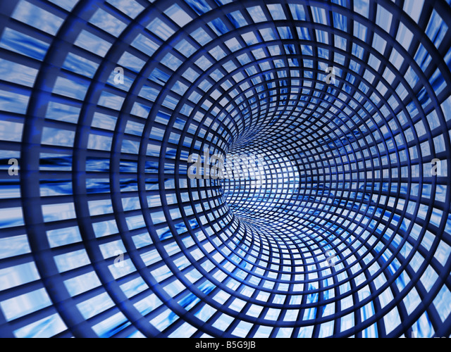 abstract a tunnel Background in the form of a square pattern - Stock Image