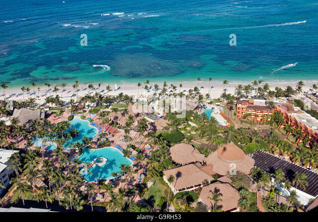 Beach Resort, reef, Bavaro, Punta Cana, La Altagracia Province, Dominican Republic - Stock Image