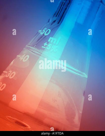 laboratory flask on a bunsen burner - Stock Image