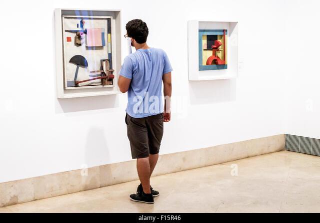 Madrid Spain Europe Spanish Centro Paseo del Prado Museo Thyssen-Bornemisza Museum art gallery Kurt Schwitters Merzbild - Stock Image