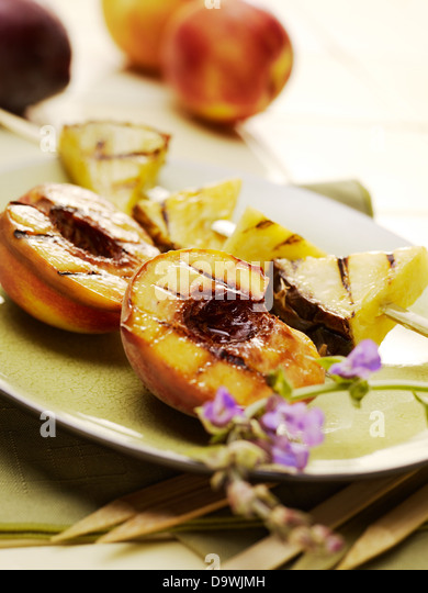 grilled fruits - Stock Image