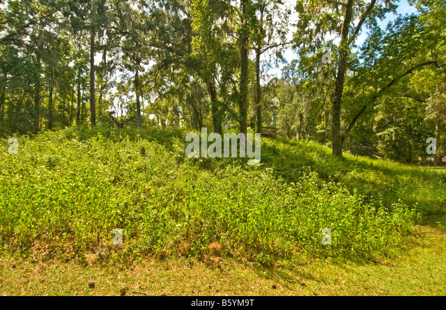 Lake Jackson Mounds Archaeological State Park Tallahassee Florida Indian earth temple mounds wood stairs boardwalk - Stock Image