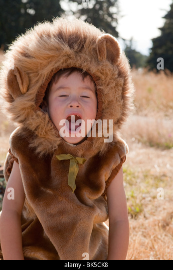 Yawning boy in lion costume - Stock Image