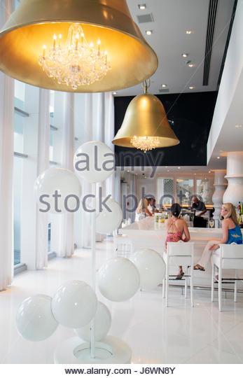 Miami Beach Florida Mondrian South Beach Hotel lobby bar - Stock Image