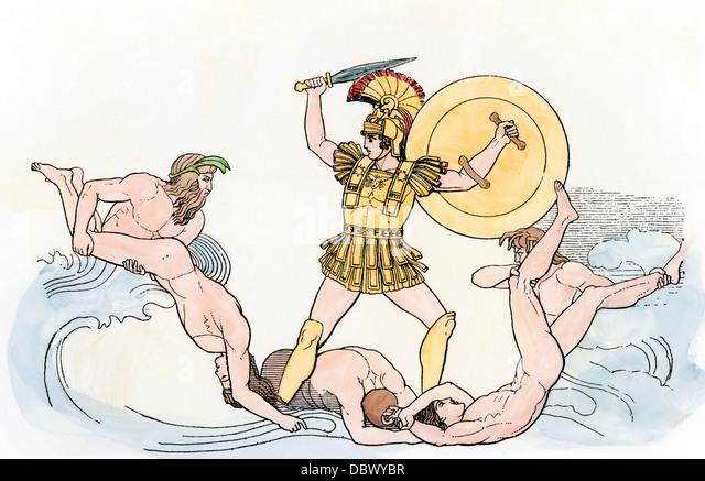 Greek hero Achilles battling in the waves. - Stock Image