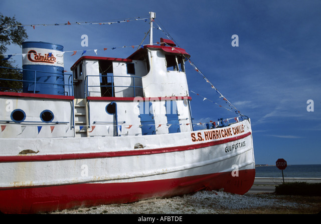 Mississippi Gulf Coast Gulf of Mexico Gulfport tugboat converted to snack shack pushed inland by Hurricane Camille - Stock Image