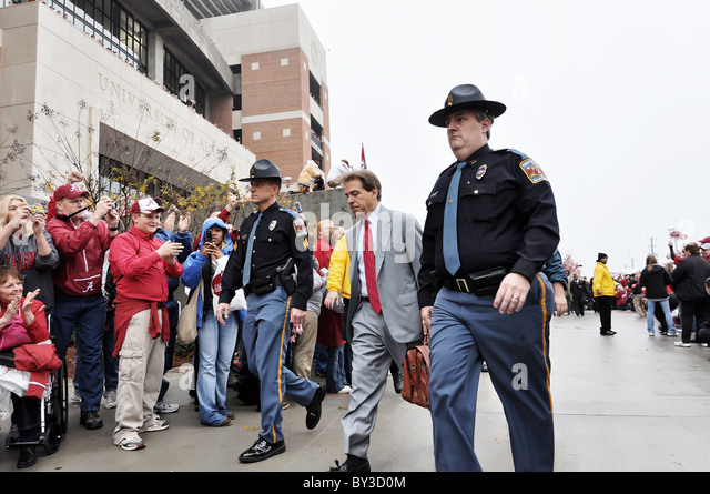 University of Alabama football coach Nick Saban arriving at Bryant Denny Stadium in Tuscaloosa, Alabama before football - Stock Image